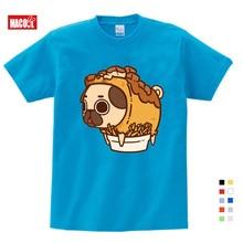 Kids Boys Summer Clothes Flower Pot Dog Cartoon Printing T Shirt 3T-9T Short Blue Cotton T-shirts 3-15 Years