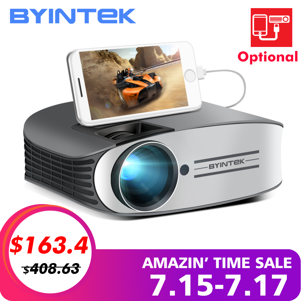 BYINTEK marca Luna M7 200 pulgadas Cine en Casa HD Video LED proyector para Iphone Smart Android Teléfono Móvil Full HD 1080 P