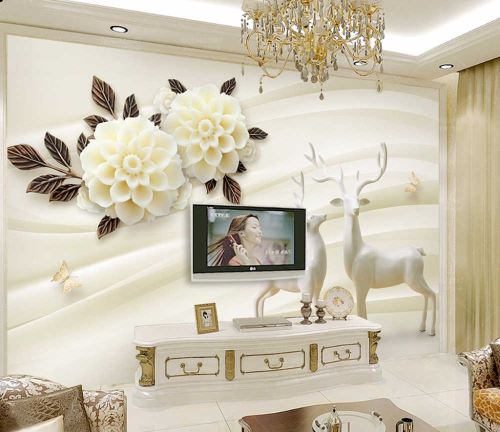 Bacaz wallpaper home decoration photo background art white flower marble living room bedroom life wall covered mural tapete