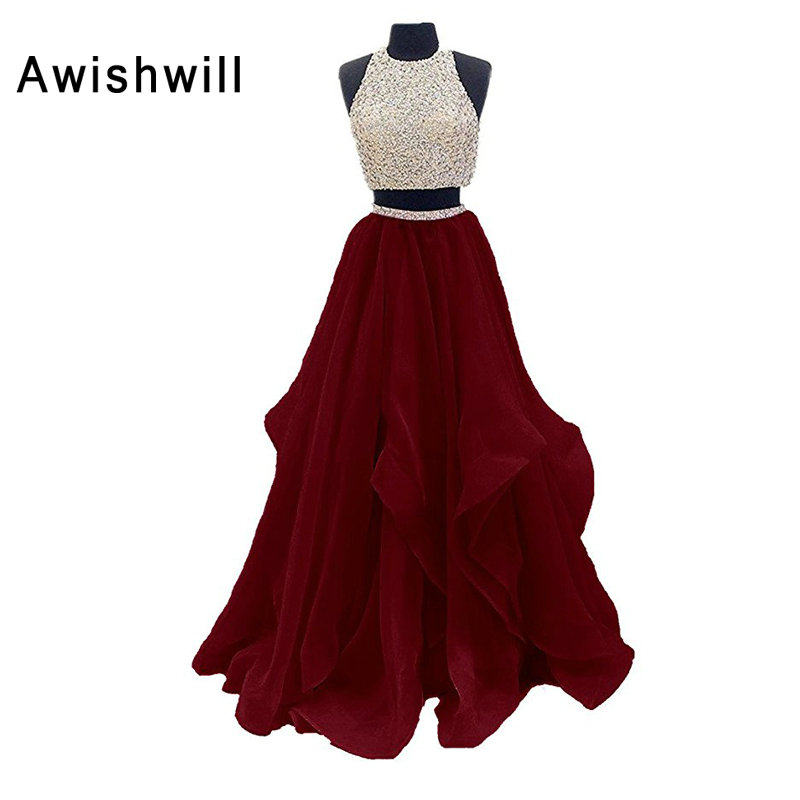 Modest Long Evening Dress Open Back O Neck Beaded Organza Vestido De Festa Sleeveless Floor Length