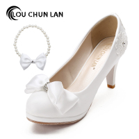Wedding Shoes White Bride Shoes Bridesmaid Shoes Stage Performances High Heels Sweet Bowtie Women Pumps Large