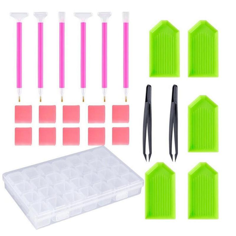 24 piezas 5D DIY diamante pintura broca bolígrafos punto de cruz bordado herramientas Set mosaico pegamento pluma Kit pinzas accesorios con caja