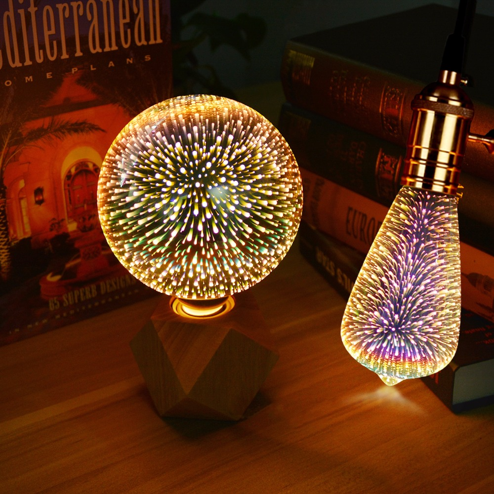 Table Lamps Colorful Fireworks Effect Led 3d Light Vintage