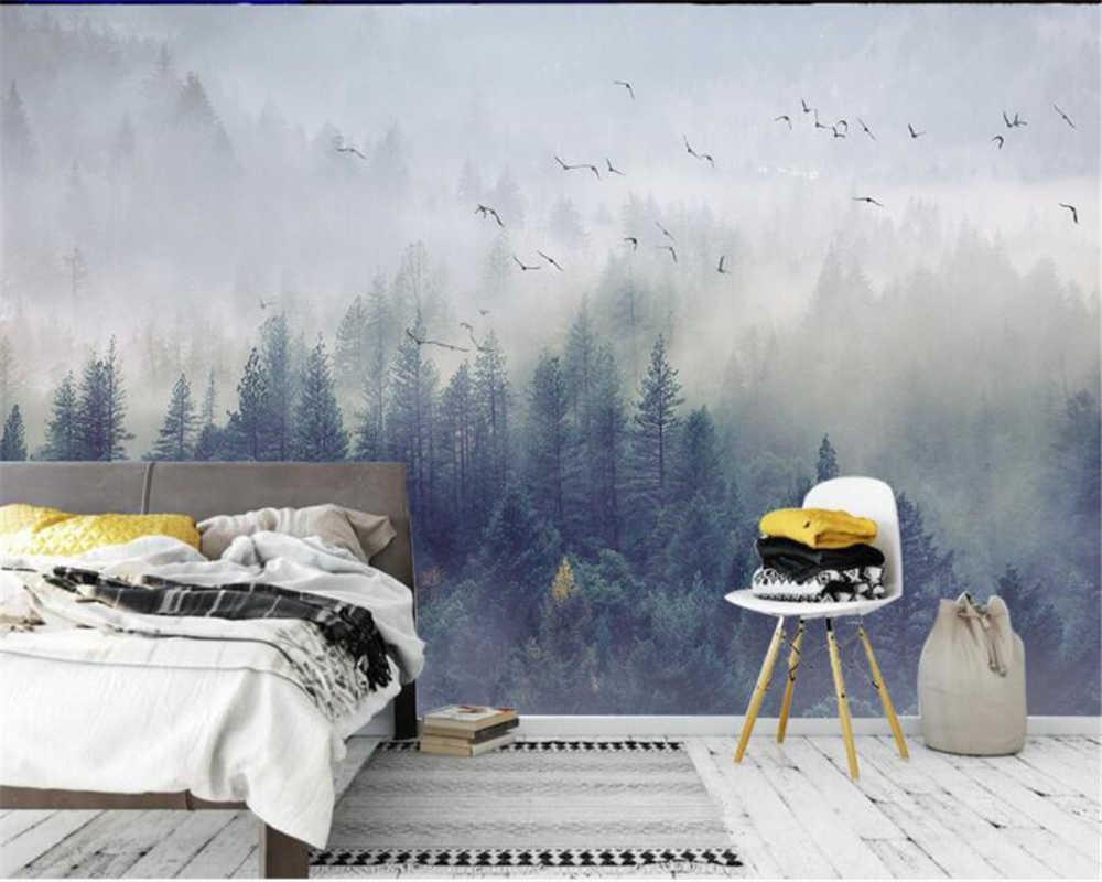 Beibehang مخصص ثلاثية الأبعاد ورق حائط الشمال الغابات الطازجة المناظر الطبيعية تصميم حائط الخلفية غرفة الجلوس صور خلفية الجداريات
