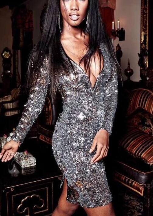 Aderente Scollo Argento Con Di Club Donne Manica Alta V Night Del Vestito Partito A Lunga Modo Maglia Sexy Qualità Delle Nastro rthQCsd
