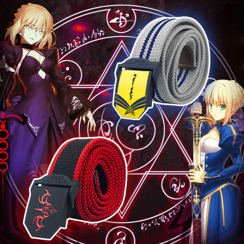 2 Types Fate Grand Order Saber Belt Fate/Stay Night Canvas Belt Metal Woven Belt Arturia Pendragon Cosplay Accessories 125cm