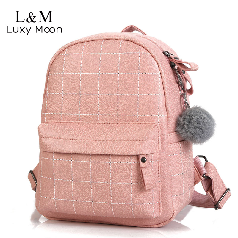 2020 Women Leather Backpack School Bag For Teenage Girls Female Pink Backpacks Fashion Soft Travel Bags Fur Mochila Black XA78H