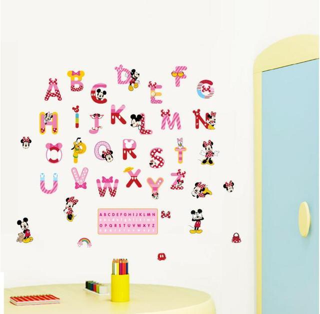 Assez Mickey Anglais Alphabet Autocollants Anglais Mots Mur de Dessin  VZ91