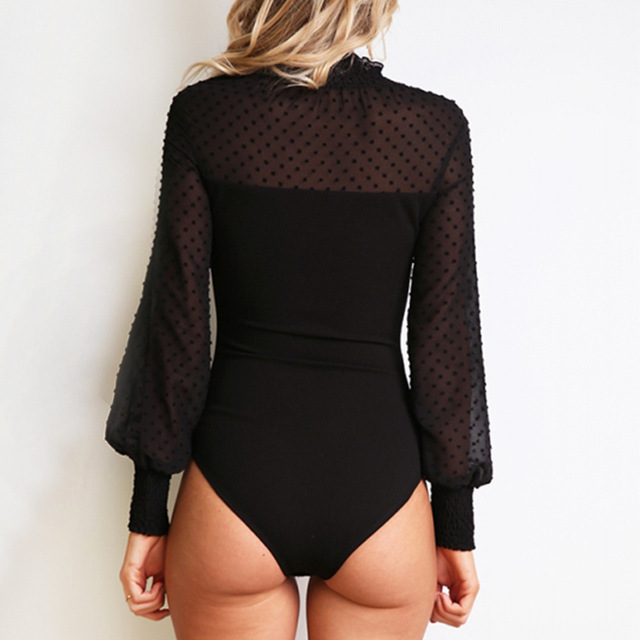VITIANA Women White Solid Slim Casual Bodysuit Female 2018 Autumn Long Sleeve Lace Elegant Romper Streetwear Bodycon Playsuit 4