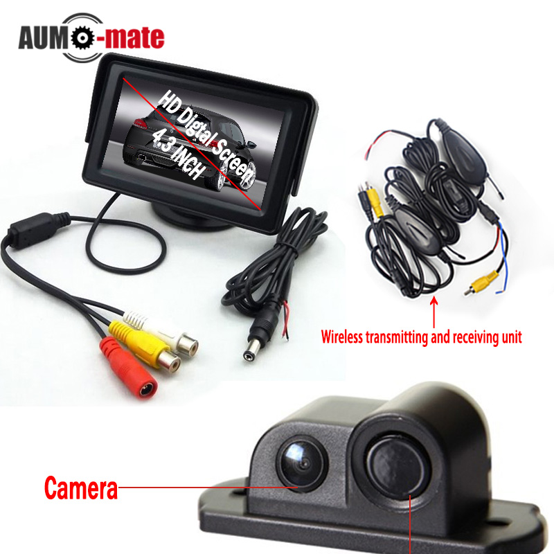 Wireless Transmitter Car Parking Sensor System with 4.3'' LCD Monitor 2 in 1 Back Camera Radar Parktronic ukingmei uk 2050 wireless in ear monitor system sr 2050 iem personal in ear stage monitoring 2 transmitter 2 receivers