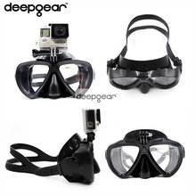 Deepgear detachable camera mount scuba diving mask for Gopro Xiaoyi Sj silicone tempered glass adult diving mask snorkel gears