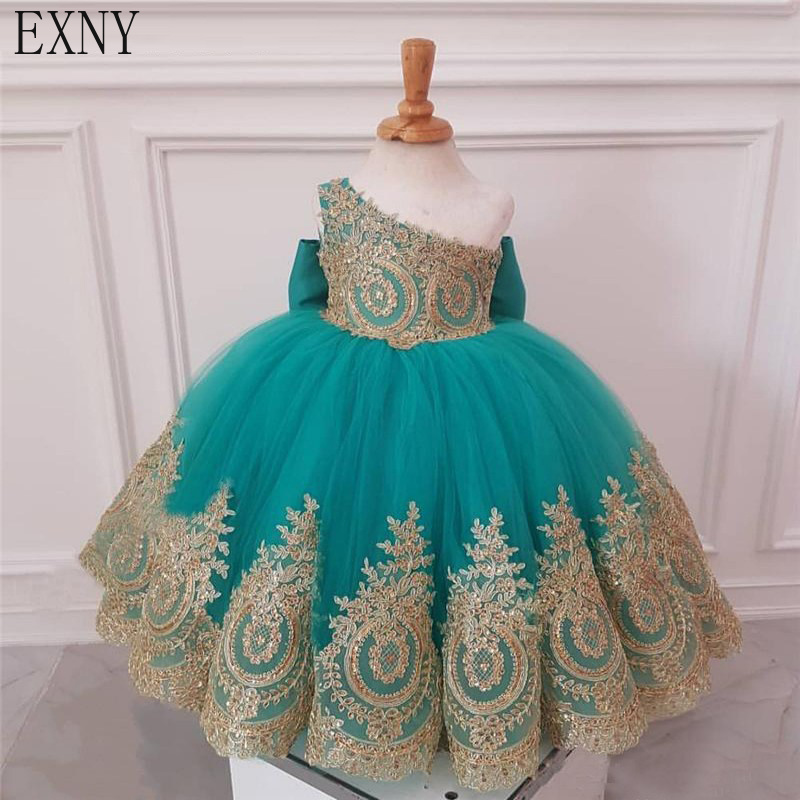 EXNY Turquoise Blue One Shoulder   Flower     Girl     Dresses   For Weddings Gold Lace Ball Gown Kids Gown   Girls   First Communion   Dress