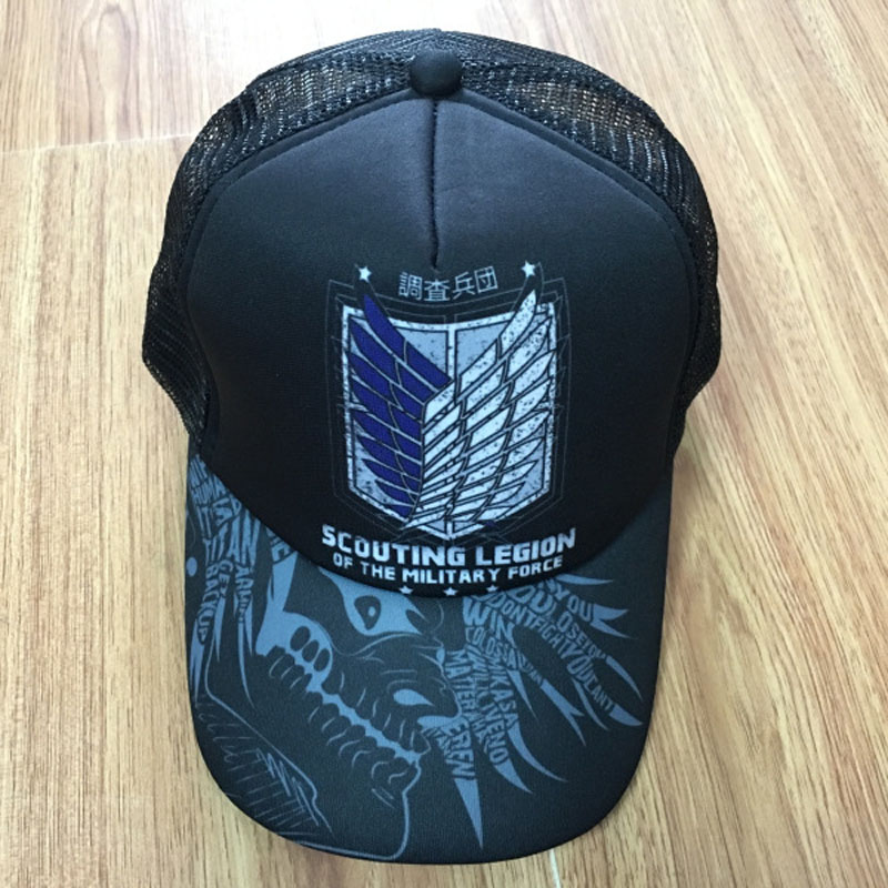 Attack On Titan Anime Sun Cap Adjustable Summer Casual Mesh Hat With Scouting Corps Wings of Liberty Sign