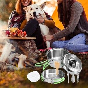 Image 5 - Lixada Camping Cookware Mess Kit Backpacking Hiking Picnic Outdoor Cooking Pot and Pan Set Cookset Tableware Cutlery Utensil Set
