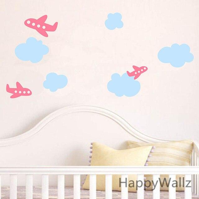 Online Shop Airplane Wall Sticker Plane Clouds Baby Nursery Wall - Nursery wall decals clouds