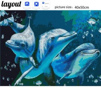 Huacan DIY 5D Diamond Painting Animals Dolphin Diamond Mosaic Cross Stitch Diamond Embroidery Full Rhinestones