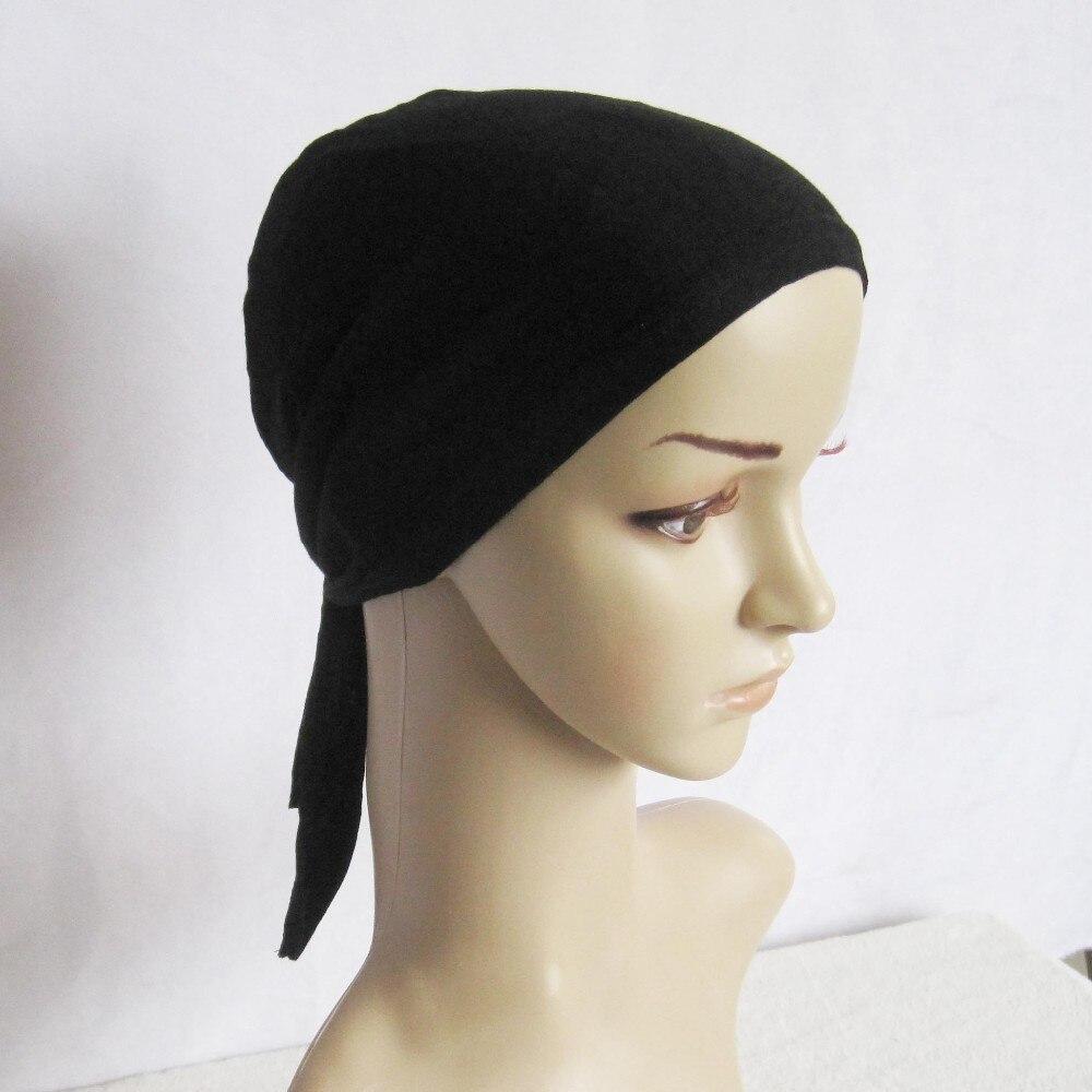 30pieces lot Multi color Tie Hat Mulsim Caps Back String Jersey Islamic Elastic UnderScarf Bonnet