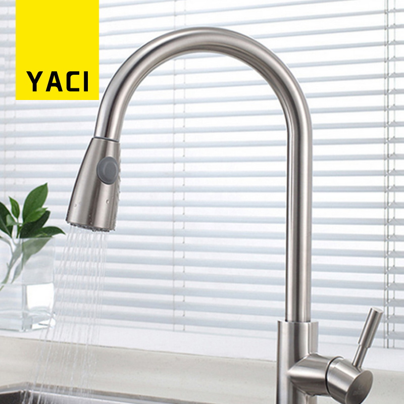 YACI 304 SS Kitchen Faucet Single Handle Pull Out Sink Faucet Deck Mounted 360 Degree Rotation Mixer Tap Torneira YC8039 new kitchen faucet with pull out spray gun 360 degree rotation solid brass chrome finish vessel sink basin tap mixer torneira