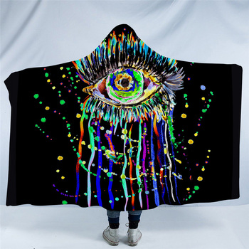 Fleece Watercolor Eye Hooded Blanket 5