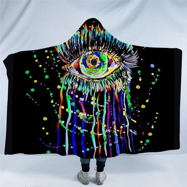 Fleece Watercolor Eye Hooded Blanket 5