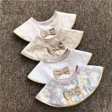 Ins Retro Cotton Breathable Baby Bibs Breastplate Waterproof Kids Things Stuff 360 Degree Rice Pocket