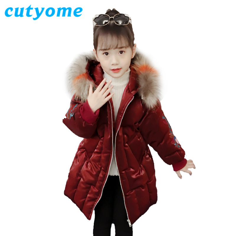 2018 Teenage Girls Hooded Warm Coat Children Winter Fur Collar Hat Long Cotton Padded Jackets Toddler Kids Outerwear Parka Coats winter coats for girls long outerwear jacket thick warm fur collar hooded cotton padded coat girls parka coats