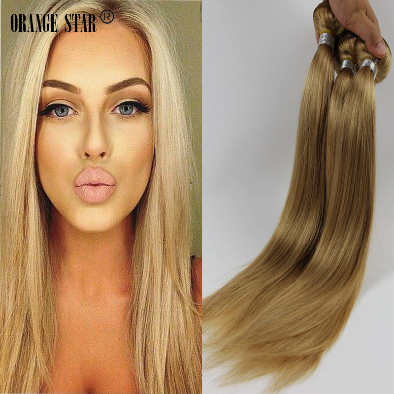 4PCS Brazilian Straight Blonde Hair Weave Honey Blonde