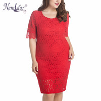 Nemidor 2016 Hot Sales Women Elegant Half Sleeve Knee Length Dress Square Neck Plus Size Bodycon