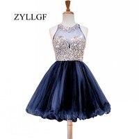 ZYLLGF sparkly линии Sheer Вернуться Кристаллы бисером Сладкие 16 Платья Короткие Темно синие Свадебная вечеринка платье 2018 RS11