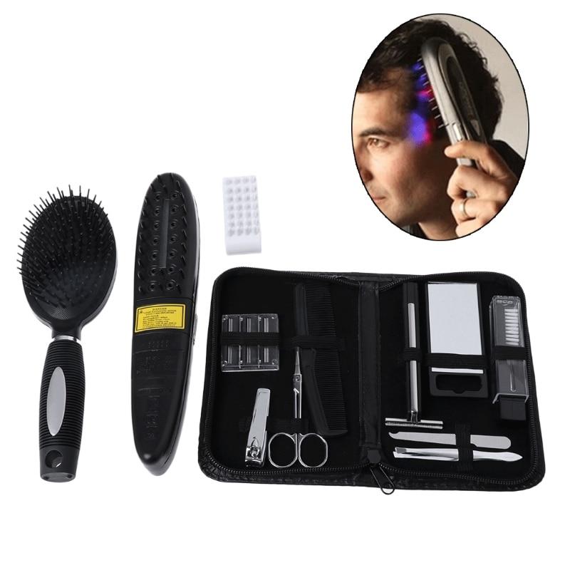 Spazzola di capelli Pettine Trattamento Laser Power Grow Comb Kit 2017 Nero arrestare La Perdita Di Capelli Massaggio Set Strumenti Hot Regrow Therapy strumenti barbiere