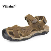 Viihahn Summer Men Sandals 2017 Breathable Outdoor Gladiator Genuine Leather Beach Flats Slippers Casual Shoes Big Size 38-48