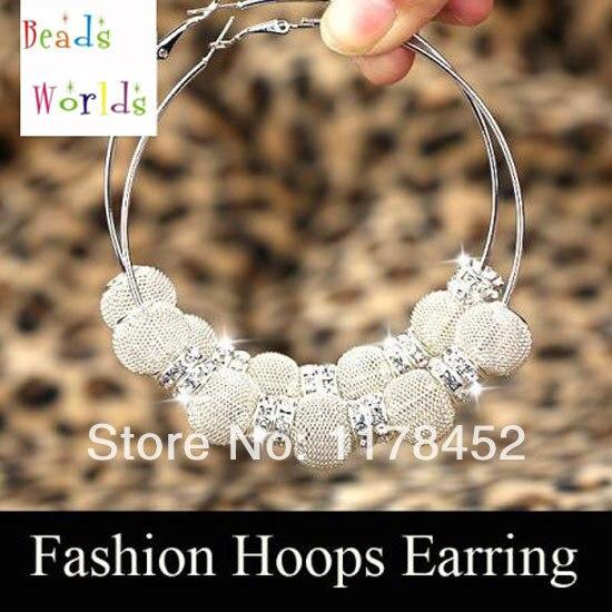 Silver Basketball Wives Mesh Ball Beads Hoop Earrings W/ Crystal Spacer Beads