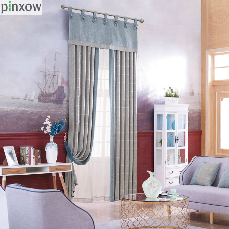 cortinas cortinas para la sala de estar moderna de lino a cuadros gris gril para comedor