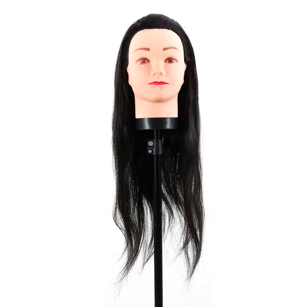 40cm Long Black Hair Hairdressing Styling Training Practice Mannequin Head Hairdressing Dolls Manikin Wig Head Cosmetology Model