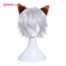 цена на L-email wig Brand New Men Cosplay Wigs 30cm/11.81inches Short Sliver White Heat Resistant Synthetic Hair Perucas Cosplay Wig