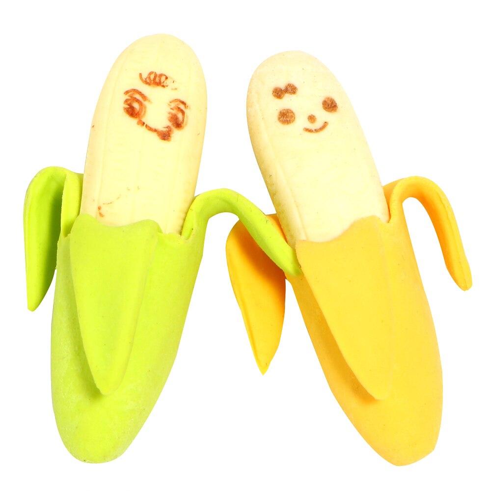 2Pcs Cartoon Kawaii Cute Banana Eraser Fruit Pencil Rubber Novelty For Kids School Supplies Student Office Stationery E2042