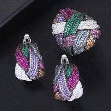 GODKI Juego de joyas para mujer, de zirconia cúbica geométrica, juegos de joyas para mujer, boda, Dubai, joyería nupcial