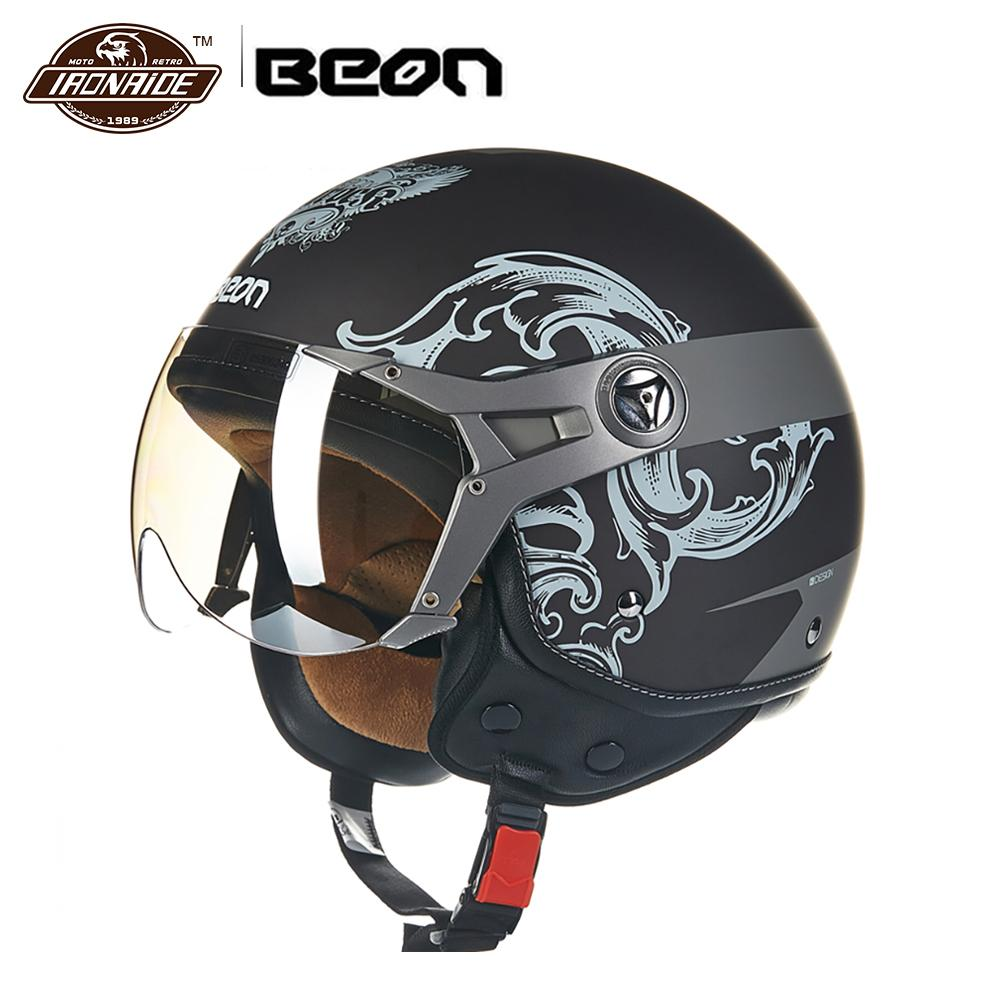 BEON Vintage Motorcycle Helmet Motorbike Moto Casco Capacete Scooter 3/4 Open Face Biker Helmet Motorcycle Capacete Motociclista free shipping beon new fashion motorcycle half face summer moto helmet breathe four seasons authentic harley motorbike capacete