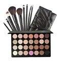 28 Colores de Sombra de Ojos Fundación Polvo Colorete Corrector de Maquillaje Paleta de sombra de Cosmestic Set + 9 unids Profesional Pinceles de Maquillaje con la Bolsa