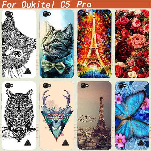 High Quality Flower Tiger Owl Towers Phone Back Cases For Oukitel c5 pro Colorful DIY Painted cover for Oukitel c5 pro cellphone