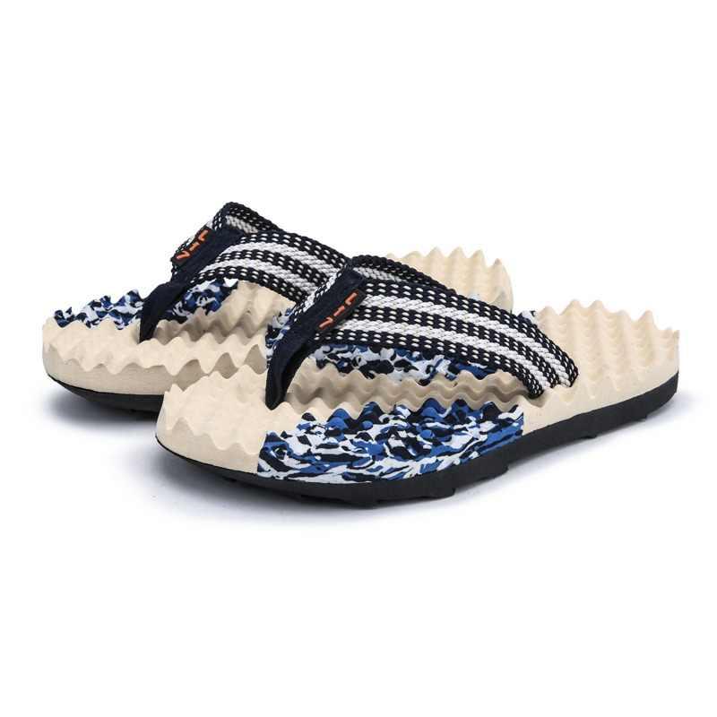 89068e0710f7 Summer Beach Slippers Men Shoes Flip Flops Patchwork EVA Stripe Outside  Massage Slipper Male Soft Leisure