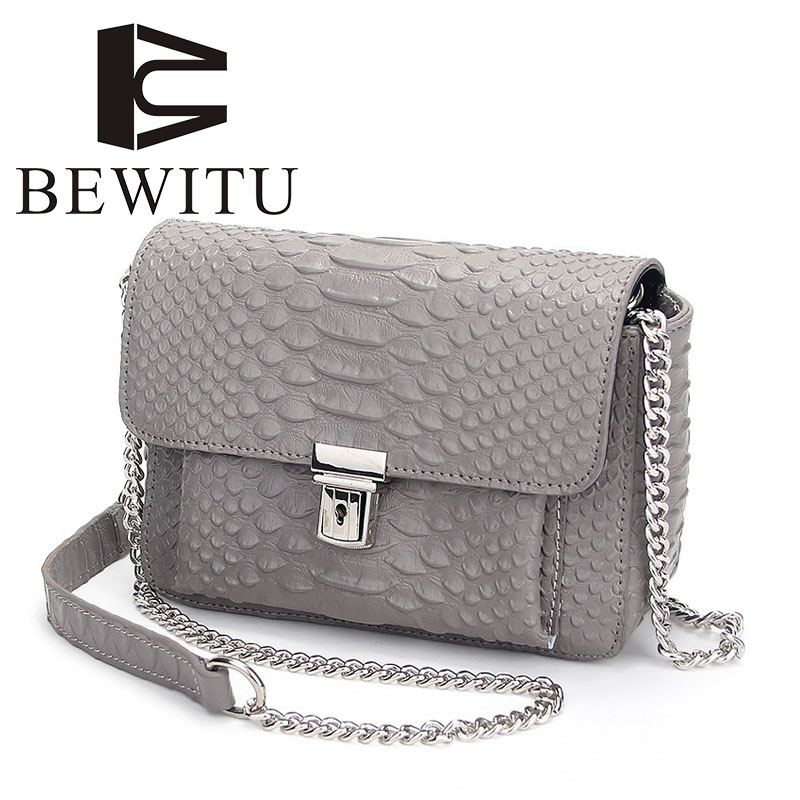 BEWITU Two-story Leather Bag 2018 New Korean Messenger Bag Shoulder Bag Crocodile Chain Small Square Bag Leather Handbags