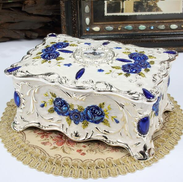 Grande taille Vintage fleur sculpté boîte à bijoux multi-couleurs émaillé avec des pierres décor collier pendentif anneaux cadeaux mallette de rangement - 5