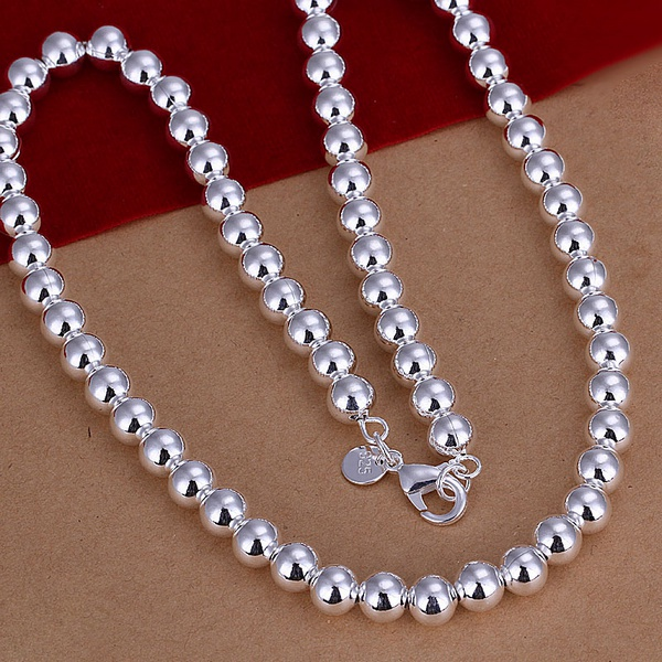 Silver plated exquisite noble luxury gorgeous charm fashion 8MM chain women lady beads necklace 20 inches Silver jewelry ,N111