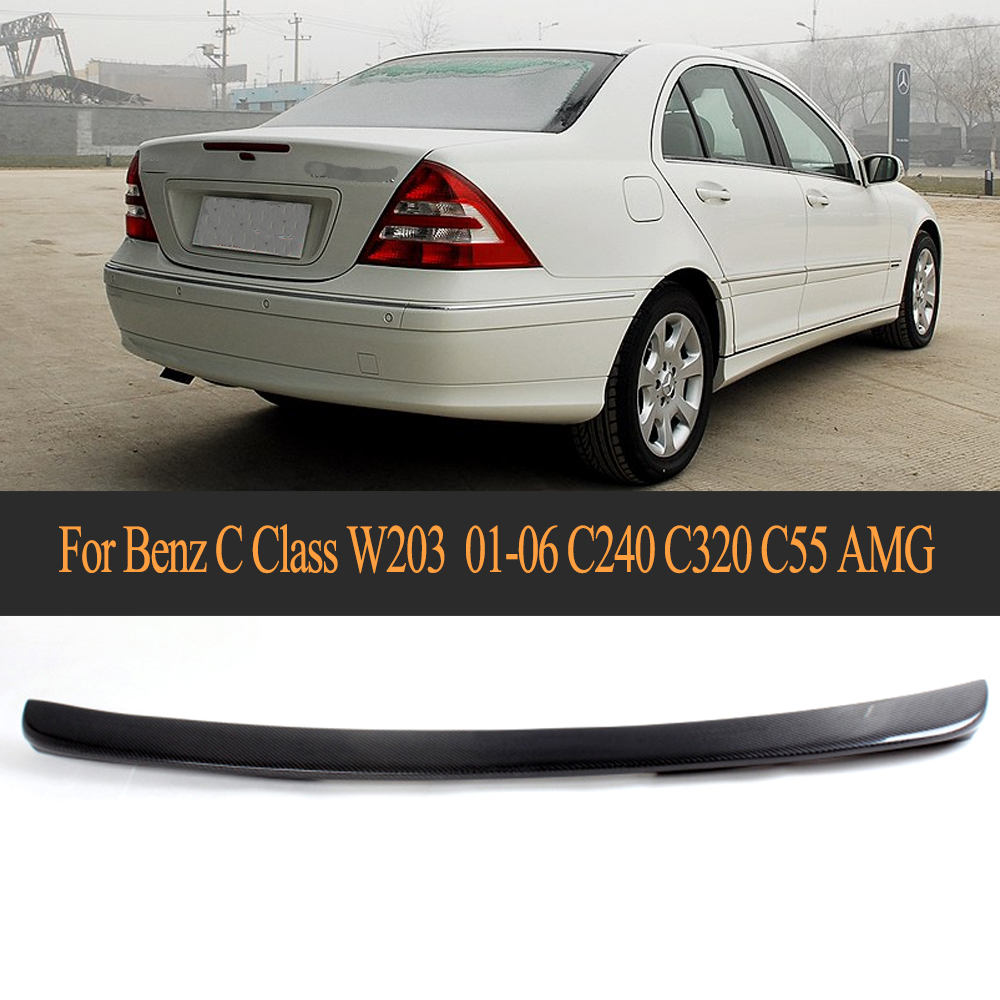 hight resolution of c class carbon fiber rear spoiler lip wing for mercedes benz w203 2001 2006 c240 c320 c55 amg