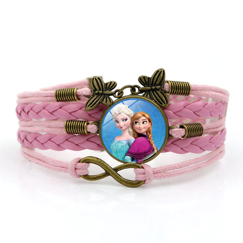 Pink Leather Bracelet Charm Anime Elsa Anna Princess Photo Glass Infinity Butterfly Jewelry Weave Multilayer Bracelet for Women