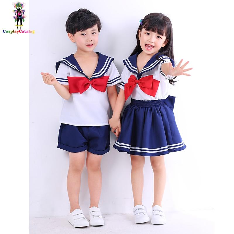 Halloween Cosplay Navy Kids Costume Sailor Children Uniforms Boy/Girl Soldier Costumes Kindergarten Clothes High 90-150cm