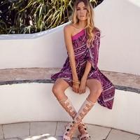 Women Boho Irregular Beach Dress For Summer Long Off Shoulder Sexy Hippie Stripe Floral Print Chic Holiday Dresses Vestidos Hot