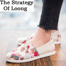 Women Canvas Embroidered Cartoon Flat Heels Fisherman Shoes Spring Summer Autumn Lady Comfortable Casual Flats 20180731(China)