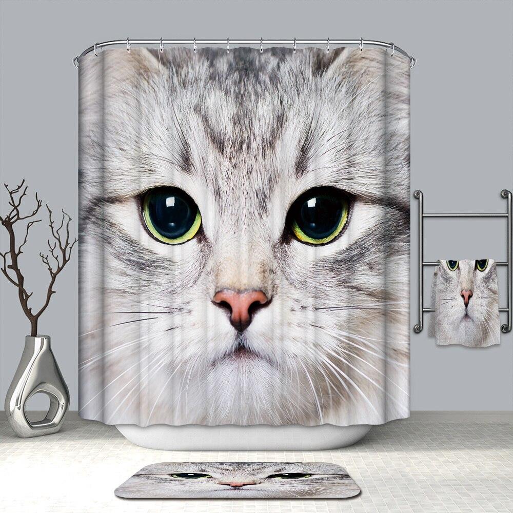 Image 3 - VOZRO Waterproof 3d Lovelycat Decorative Bathroom Shower Curtain Bape Cortina Rideau De Douche Wedding Decoration Douchegordijn-in Shower Curtains from Home & Garden